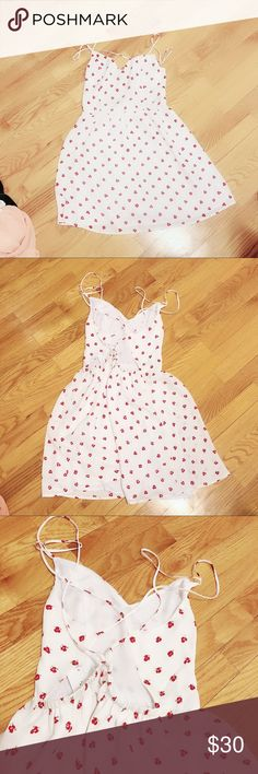 urban outfitters red and white ditsy floral dress kimchi blue x urban outfitters brand  red and white floral pattern bnwt never worn retails $70  us size 4  backless criss cross design Urban Outfitters Dresses