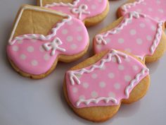 Pink & White Polka Dot Bikini Cookies. Could even work as lingerie cookies for a bridal shower!