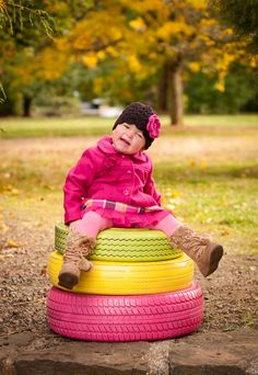Painted tires for toddler photos Fall Photos, Fall Pictures, Cute Photos, Children Photography, Family Photography, Painted Tires, Toddler Photos, Old Tires, Kid Poses