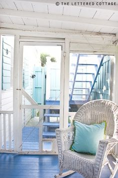 Cottage Decor: White and Sea Blue - did I mention I love screened porches by the ocean?