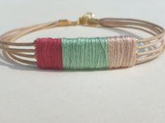 Multi Coloured Thread Wrapped Bracelet Gold by CraftsbyBrittany, $7.00
