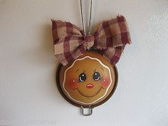 HP gingerbread wall hanging or ornament tea strainer hand painted