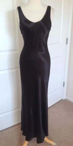 Vintage Long Black Silky Satin Bias Cut Hourglass Art Deco Gown Dress Small USA in Clothing, Shoes & Accessories, Women's Clothing, Dresses | eBay