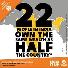#Inequality? 22 people in India own the same wealth as HALF the country. Time to #EvenItUp! https://act.oxfam.org/international/even
