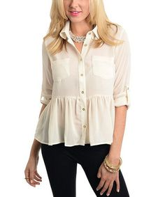 This Ivory Peplum Button-Up is perfect! http://www.zulily.com/?SSAID=930758&tid=acceleration_930758 #zulilyfinds