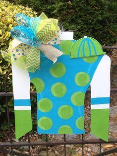 Kentucky derby jockey silk door hanger/wreath by shutthefrontdoor2, $40.00