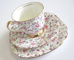 Vintage Rose Chintz Tea Trio Windsor China by TheWhistlingMan, SOLD!