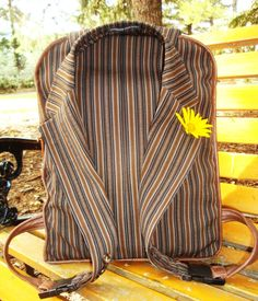 Carry your books and belongings to class or to work with a one-of-a-kind upcycled backpack designed from a re-purposed man's suit jacket by Linda Bodo of Absolute Bodo who demonstrates with this fr...