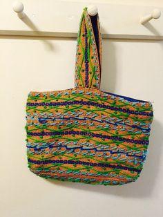 Hand made vintage hippie hand bag with needlework by SCFinds