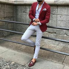 Quality Burgundy Mens Suits with Pants Groom Wedding Tuxedos Groomsmen Blazers Jacket Slim Fit Terno Masculino Costume Homme with free worldwide shipping on AliExpress Mobile Blazer Outfits Men, Mens Fashion Blazer, Suit Fashion, Fashion Outfits, Red Blazer Outfit, Men Blazer, Fasion, Stylish Men, Men Casual