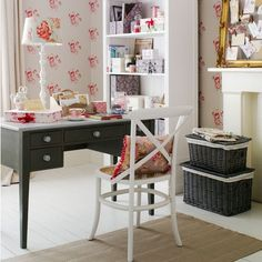 Green home office with patchwork curtains | Home office decorating | housetohome.co.uk | Mobile