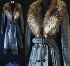 Vintage leather Jacket 60s 70s Raccoon Fur by GrandmaHadItGoinOn, $178.00
