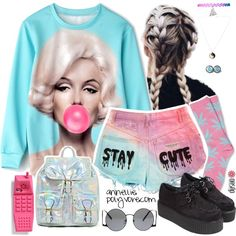 Kawaii Grunge by annellie on Polyvore featuring moda, HUF, Moschino, grunge, 90s, goth, pastel and kawaii