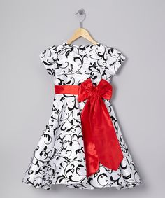 Take a look at this Black & Red Swirl Sash Dress - Toddler & Girls on zulily today!