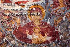 virgin mary and baby jesus, byzantine fresco painting, Sümela monastery