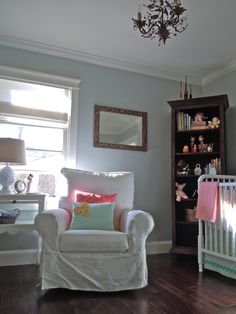 natural elements of nature in baby girl nursery fabric and birds calm nursery room. Pillows!