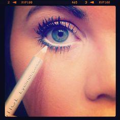 white eyeliner on the inside bottom of your eyelid for brighter, bigger eyes.