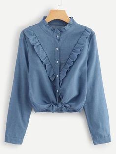 To find out about the Frill Trim Single Breasted Knot Hem Blouse at SHEIN, part of our latest Blouses ready to shop online today! Dressy Tops, Denim Top, Blouse Styles, Blouse Designs, Fall Shirts, Fashion Moda, Curvy Fashion, Mode Hijab, Mode Style