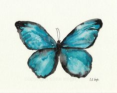 Blue Butterfly Watercolor,Fine Art Giclee Print, 8x10, painting, butterfly decor, blue butterfly, butterfly print, home decor