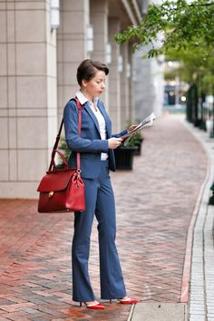 business professional | indigo pant suit - red reticule