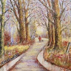 """""""Autumn Evening Walk"""" by Nuala Holloway - Oil on Canvas #Art #IrishArt #Trees"""