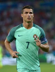 #EURO2016 Cristiano Ronaldo in action for Portugal during the UEFA EURO 2016 semi final match between Portugal and Wales at Stade des Lumieres on July 6 2016...