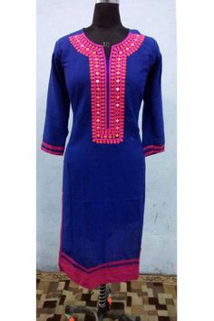 Blue Cotton Embroidered Mirror Work Stitched Kurti