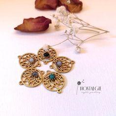 Brass Lotus Flower Charm with Gemstone for Macrame Macrame Rings, Macrame Jewelry, Jewelry Art, Macrame Thread, Macrame Supplies, Handmade Jewelry, Handmade Items, Stone Pendants, Lotus Flower