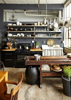 rustic industrial kitchen, grays, blacks, whites, natural wood.