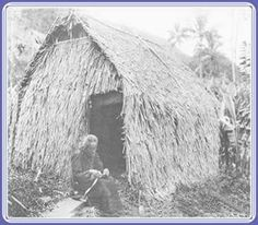Hawaiian Wahine sewing a Papale (hat) in front if grass house, Onomea, Hawaii island late Hawaiian, Grass, Hat, Island, Sewing, House, Outdoor, Chip Hat, Outdoors