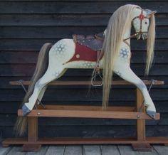 Antique Rocking Horse | Antiques Atlas - 'RUBY' Large Vintage Dapple Grey Rocking Horse