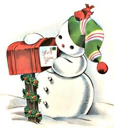 Snowman checking his Christmas mail