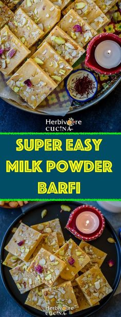 An addictive yet easy recipe to make Barfi (Sweet Fudge) using FIVE ingredients. A great addition to any celebration, this Milk Powder Barfi is a keeper! Indian Food Recipes, Vegetarian Recipes, Healthy Recipes, Healthy Baking, Healthy Desserts, Other Recipes, New Recipes, Easy Recipes, Cream Recipes