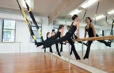 Action: Barre X at Pilates ProWorks What happens when you use a TRX in barre class?What happens when you use a TRX in barre class? Pilates Barre, Ballet Barre, Pilates Studio, Pilates Workout, Barre Workouts, Body Crunch, Casa Patio, Gym Design, Fitness Design