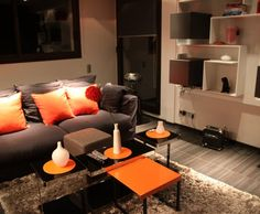 Photo Deco : Salon  Orange  Moderne   Appartement Masculin Colore