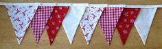 Reindeer and Stars Fabric Bunting  READY by MollyFelicityDesigns, £10.00