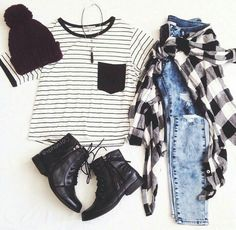 Striped and flannel outfit