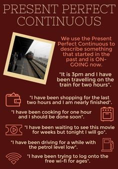 Present perfect continuos English Grammar Tenses, Teaching English Grammar, Grammar And Vocabulary, English Language Learners, English Idioms, English Lessons, Grammar Practice, Better English, English Fun