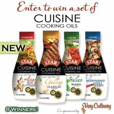 Enter to win Cuisine Cooking Oils. These look really interesting. Thinking of recipes already.