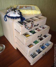 Купить Мини-комод для мулине - бежевый, хранение мелочей, мулине, аксессуары ручной работы
