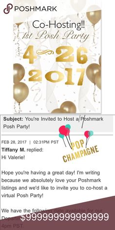 🎈Party Over Here🎈 Hey Ladies! Please help me celebrate, cohosting my first ever Posh Party! Other