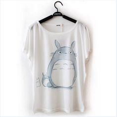 Print casual batwing sleeve 2014 summer cotton shirt loose brief totoro cartoon t shirt girl short sleeve female Free Shipping-inT-Shirts fr...