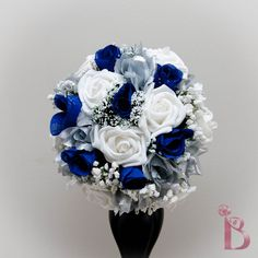 Grand royal style silk wedding bridal bouquet in royal blue and silver (other colors too). $74.99, via Etsy.