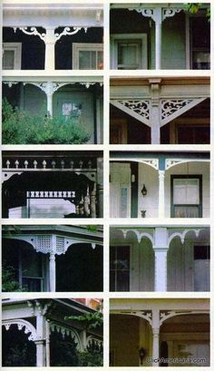 wood trim ideas for the front porch From a July 1981 article in House & Garden, a host of fun ways to dress up your porch with decorative trim.From a July 1981 article in House & Garden, a host of fun ways to dress up your porch with decorative trim. Victorian Porch, Victorian Homes, Victorian Deck Ideas, Victorian Farmhouse, Farmhouse Front, Porche Chalet, Casas California, Porch Trim, This Old House
