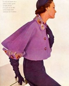 #Pansies detailed cropped bolero by #Schiaparelli #1950. I have never seen this piece before. 💜 #butchwaxstyle