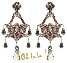Earrings with Swarovski, Sterling Silver, Statement Swarovski Crystal, Beaded by Esther Marker