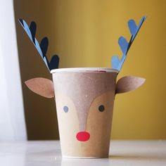 Don't throw away your coffee cups! Transform them into cute Reindeer Cups as Christmas decor!