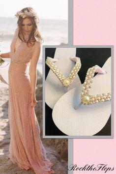 Rhinestone Bridal Flip Flops Beach Wedding Shoes, Bling Wedding, Lace Wedding, Wedding Flip Flops, White Flip Flops, Pearl Bridal, Bridesmaid Shoes, Bride Shoes, Prom Dresses