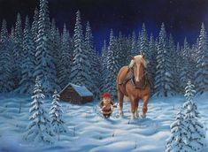 Swedish artist, Jan Bergerlind Tomte Gnome & Horse Christmas Cards Box of 12 Swedish Christmas, Scandinavian Christmas, Christmas Fun, Xmas, Boxed Christmas Cards, Christmas Poster, Illustration Noel, Christmas Illustration, Illustrations