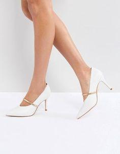 ba5613aac6e Kurt Geiger V Cut Mid Kitten Heel With Strap White Pumps, White Shoes, Kurt
